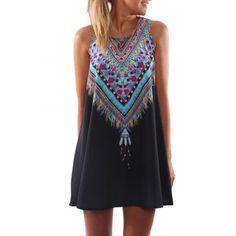 Vestido ocasional del verano Maxi Mini impresión de la tarde-Negro