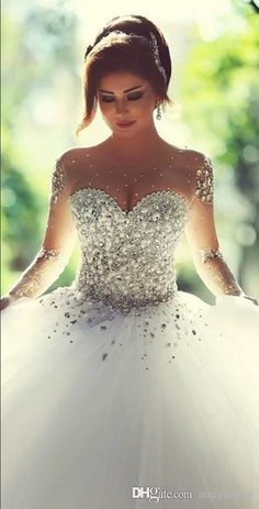 Wholesale 2015 Long Sleeve Wedding Dresses with Rhinestones Crystals Backless Ball Gown Wedding Dress Vintage Bridal Gowns Spring Quinceanera Dresses, Free shipping, $157.07/Piece | DHgate Mobile   jαɢlαdy