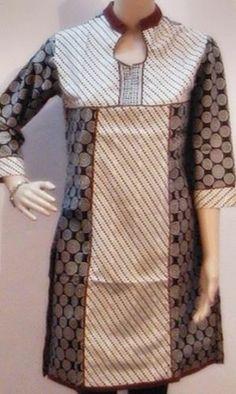 """Designer Kurti Top Blouse Tunic Yoga Dress Indian Kurtis 39"""" s Circles Print  use this princess cut as colorblock and u can look thinner in kurti"""