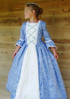Historical Handmade Modest American Colonial Pioneer Girl -Blue Ball Gown- Child Sizes up to 14 - Modest Dresses - Ideas of Modest Dresses Pioneer Girl, Pioneer Dress, Modest Dresses, Day Dresses, Girls Dresses, Blue Costumes, Girl Costumes, Blue Ball Gowns, Costume Dress