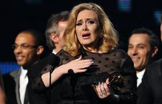 Adele accepting her award for Album of the Year at the 2012 Grammy's.