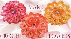 Como tejer fácil y rápido flores de colores de una sola tira - How to ...