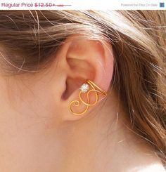 10 OFF SALE Simple Gold Swirl Ear Cuff with by LyndyLouDesigns, $11.25