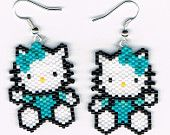 Hand Beaded Hello Kitty with turquoise dangling earrings