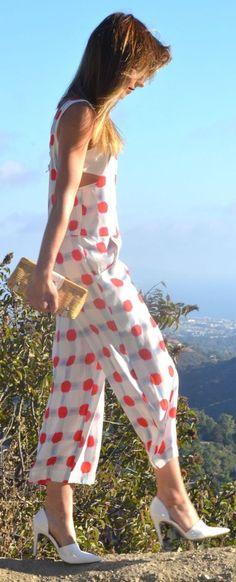 White Women's Wide Leg Ankle Length Red Dot Jumpsuit