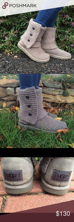 """Gray Knit """"Classic Cardy"""" UGG Boots Size 8, Almost new/gently used, soles and shape in very good condition, black buttons UGG Shoes Ankle Boots & Booties"""