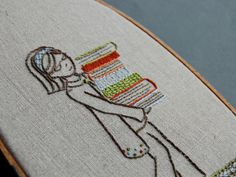 (via cajunmama:Girl with books embroidery pattern by septemberhouse)
