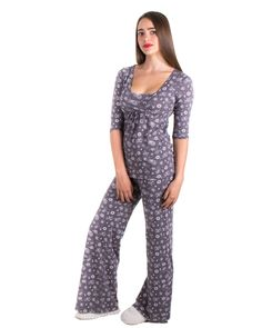 pijama de lactancia gris www.semillazul.com