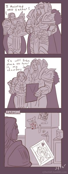 """Good dad Emperor AU lmao. Idle primarch doodle that turned into a full silly comic. Emp's fridge is huge and his sons stick dumb shit to it"" - by syberfab"