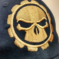 Sometimes one color is all you need. Despite some things I would change this gear skull with such a huge presentation on this low profile hat is working for me. #embroidery #machineembroidery #embroideryerich