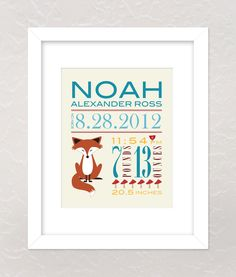 Nursery Wall Art Print Custom (Baby Name and Birth Stats) 8x10 Forest Friends Fox, Baby Shower Gift. $17.00, via Etsy.