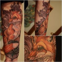 Intricate Fox Tattoo - Illustrative quality - done by Brain Thomas Wilson