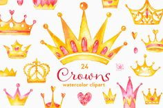Crowns. Watercolor clipart by StarJam on @creativemarket