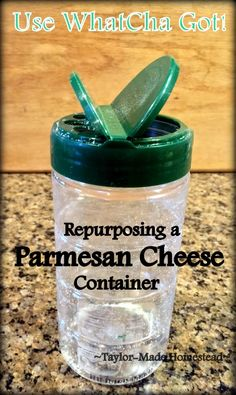When my sis offered an empty Parmesan cheese container for me to repurpose I was excited. See how it simplifies my life in the kitchen. Reuse Plastic Containers, Plastic Container Crafts, Recycling Containers, Spice Containers, Plastic Bottle Crafts, Medicine Bottle Crafts, Wipes Container, Empty Medicine Bottles, Kitchen Containers