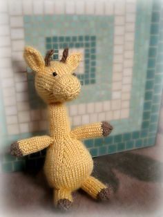 """Melman the Giraffe"" knitting pattern by Cassidy Clark. Free download for Ravelry members.    #knitting, #giraffe, #toy"