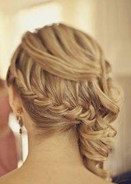 Bridesmaid hair-Braided updo.