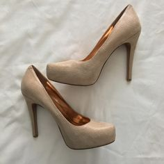 """Nude Almond Toe Platform Pumps BCBGeneration Parade Platform Pumps in cashew color. Worn once for a wedding, but in great condition. Minor mark on front of left shoe (as pictured). 4.5"""" heel height and 1"""" platform. Fits true to size. BCBGeneration Shoes Heels"""
