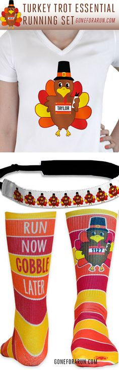 Turkey Trot Running Set. Personalized Thanksgiving running accessories exclusively from goneforarun.com