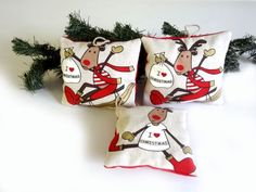 Christmas fabric decoration with reindeers for by lalunadianna, €9.00