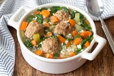 Italian wedding soup is DELICIOUS. The pasta! The meatballs! But it can pack a starchy punch. This recipe is lightened up and so good... Get the recipe from Hungry Girl!