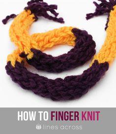 """""""Lines Across"""": Finger Knitting Tutorial"""