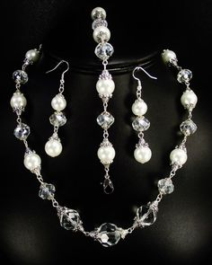 19 inch White Glass Pearl and Clear Crystal Jewelry Set | JewelryandRosaries - Wedding on ArtFire