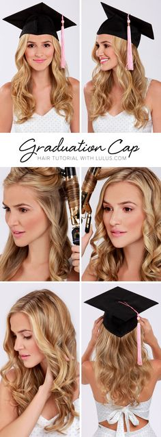 Lulus How-To: Graduation Cap Hair Tutorial Keep your hair perfectly in place wit. - Lulus How-To: Graduation Cap Hair Tutorial Keep your hair perfectly in place with our LuLu*s How-To - Hair Dos, Your Hair, Graduation Hairstyles With Cap, Trendy Hairstyles, Grad Hairstyles, Amazing Hairstyles, Medium Hairstyles, Hair Hacks, Hair Inspiration