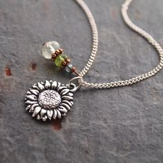 Gemstone and Sunflower Necklace by wildharegems4 on Etsy