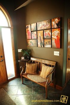 Entryway: Love the photo wall!!  Looks like a puzzle (photos on canvas prints).