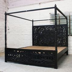 Post Bed Frame, Four Poster Bed Frame, 4 Post Bed, Wooden Bed Frames, Black Bed Frames, Black King Bed Frame, Wooden Canopy Bed, Black Beds, Carved Beds