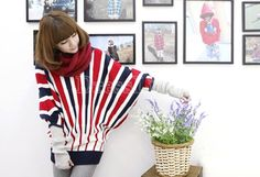 $8.61 Women's Fashion Knitting stripe Bat-wing sleeve Loose sweaters