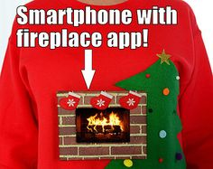 Fireplace ugly Christmas sweater iphone by SilverSpoonLifestyle Tacky Christmas Party, Holiday Fun, Christmas Holidays, Holiday Ideas, Office Christmas, Christmas Fashion, Christmas 2017, Christmas Decor, Christmas Ideas