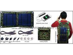 Model number: EM-707 Solar bag Expansion size:400*193*3 mm Folding size:20*193*6 mm Bag Materials: 600D Style :Portable and Fashion Solar Panel: 7Watt/5.5V Output 1: 5.5V 1280mA Life-span of solar battery: Above 10 years 2600mAh power bank Multifunction foldable solar bag charger kit , fit for all 5V devices . This kit dropshipping to Europe  anywhere only 92USD/set door to door . Interested in this products ? Send us E-mail : leo@eco-miracle.com , let's talk more . Solar Charger, Solar Battery, Solar Products, Solar Led Lights, Solar Panels, 10 Years, Europe, Electronics, Sun Panels