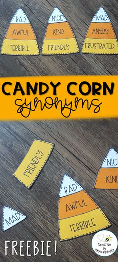 "These candy corn synonyms are perfect for seasonal synonym matching! My students always love holiday themed activities in our speech and language session. These simple synonym cards are very low prep--simply print, laminate, and cut! You can play ""I have, who has"", hide them in sensory bins, play memory, and more! How will you use them?? (24 synonym groups included.)"