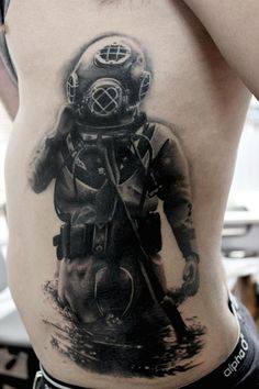 Men's Diver Tattoo On Ribcage