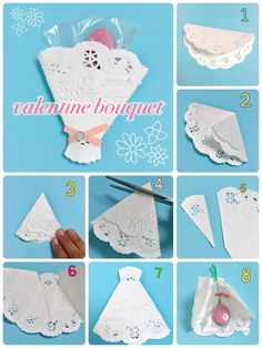 Diy And Crafts, Crafts For Kids, Arts And Crafts, Paper Crafts, Origami Clothing, Valentine Bouquet, Origami Dress, Wedding Cards Handmade, Candy Bouquet