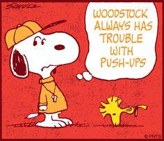 #Snoopy #Woodstock #Peanuts #PushUps