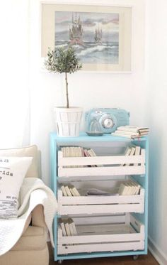 painted crates as drawers Pallet furniture? Diy Chest Of Drawers, Dresser Drawers, Diy Home Decor, Room Decor, Home And Deco, Pallet Furniture, Furniture Ideas, Home Projects, Bookshelves