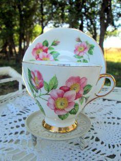 Vintage Teacup Tea Cup and Saucer  English Bone China Pink Roses Alberta Canada