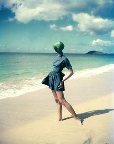 Vintage Beachwear ~ Photo by Tom Palumbo #vintage #beachwear #blue #ocean #swimwear