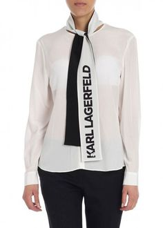 Shop Karl Lagerfeld - Shirt and save up to EXPRESS international shipping! White Silk, White Fashion, Karl Lagerfeld, Colorful Shirts, Motorcycle Jacket, Mall, Jackets, Shopping, Clothes