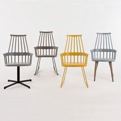 krzesła Kartell Comback proj. Patricia Urquiola, perfekcyjny mix stylu i codziennego życia #stół #kartell #krzesła #kolorowe #jadalnia #jadalnie #salon #wnętrza #miejsca #stoły #białe #biel #biało #mix #drewniane