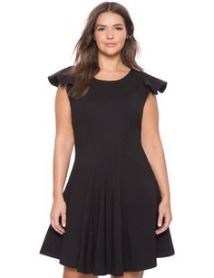 Ruffled Shoulder Fit and Flare Dress from eloquii.com