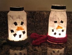 Set of 2 Holiday Snowmen Votive Jars. $15.00, via Etsy.