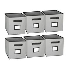 Hangorize Collapsible Fabric Cubicle Storage Bins   Set Of 6 With Label  Window   Gray