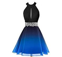 HEAR Women's Ombre Halter Crystals Prom Gown Short Gradient Backless Chiffon Coc… – Dress Fashion Cute Formal Dresses, Pretty Prom Dresses, Prom Dresses For Teens, Hoco Dresses, Sweet 16 Dresses, Ball Gown Dresses, Pretty Outfits, Homecoming Dresses, Beautiful Dresses