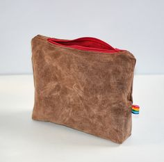 Medium Waxed Brown Canvas Beeswax Pouch- Natural, Food Safe, Reusable Waxed Fabric Bag - Natural Alternative to Plastic and Leather.