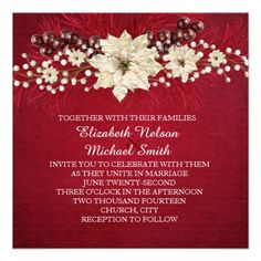 Red Christmas Miracle Wedding Invite