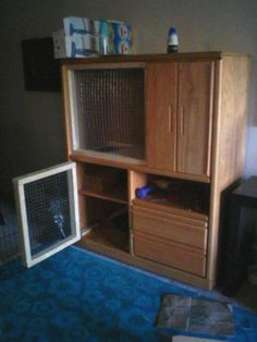 Bunny Cage - Imgur Converting a tv box to a bunny hutch