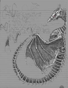 Dragon Bones, Dragon Sketch, Ink, Creative, Illustration, India Ink, Illustrations
